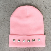 Pink Pyramid Studded Beanie