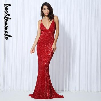 Love&Lemonade Sexy Red Elastic Sequin V Collar Exposed Back Maxi Dress LM0055
