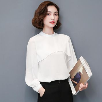 2017 New Women's Loose Chiffon Blouse Fashion Ruffles Stand Collar Lantern Sleeve Casual Chiffon Shirt Women Tops Camisas Mujer