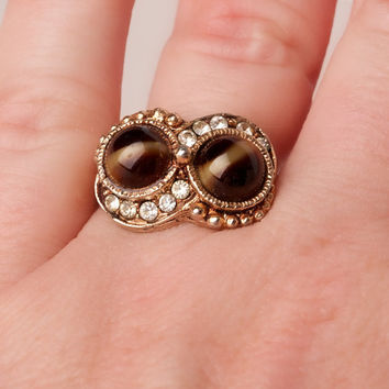 Vintage Tigers Eye and Rhinestone Adjustable Gold Tone Ring