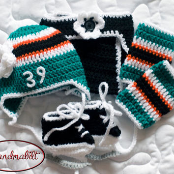 BABY HOCKEY BOYS Crocheted Hockey Helmet Hat Pants Socks & Skates Outfit Black Teal Orange White Number Size Preemie, Newborn - 3 Months