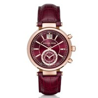 Sawyer Rose Gold-Tone and Embossed-Leather Watch | Michael Kors