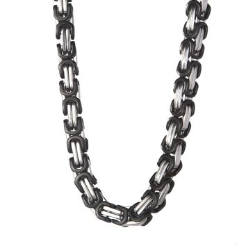 8mm Large Black & Silver Byzantine Chain