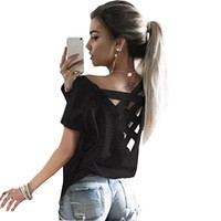 Back lace up t shirt women short sleeve o-neck casual solid punk