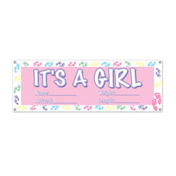 """It's A Girl Sign Banner 5' x 21""""""""- Pack of 12"""