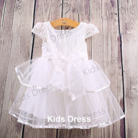 A-line Scoop Short sleeves Lace Tulle Flower Girl Dress With Sash