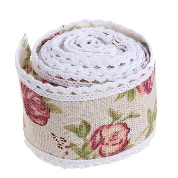 1m/roll Burlap Ribbon Beautiful Flower Hessian Burlap Lace Jute Hessian Party Wedding Runners Christmas Decoration for Home