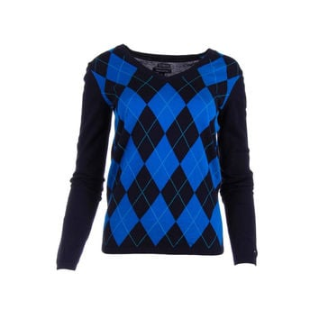 Tommy Hilfiger Womens Argyle Long Sleeves Pullover Sweater