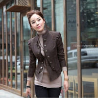 Coffee Color Splicing Leather Coat For Women,Lady's Vintage Jacket Double Dreasted Suit Coat = 1929793604