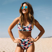 Swimwear vest top bottom set Sexy Women Bikini Set Push up Padded Bandage swimwear Swimsuit Bathing suit bikini estampado