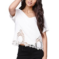 LA Hearts Crochet Hem Scoop Neck Top - Womens Shirts