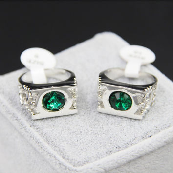 Silver 8 Fashion Jewelry Silver Charm Green Lantern Ring For Men And Women
