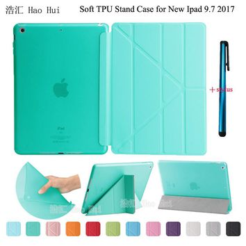Smart Case For New Ipad 9.7 2017 A1822 Automatic Wake/Sleep Ultrathin + Soft TPU Translucent Back Cover Stand + One Stylus Gift