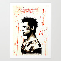 Fight Club Lost Everything watercolor Art Print by Justin 13 Art