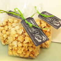 BULK Gourmet Caramel Kettle Corn Favors; Natural Gluten Free; Colors, Personalized Labels Available; Wedding Favors and Birthday Parties