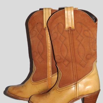 Sale 80s Dexter CowBoy CowGirl Western Boots Antiqued Honey Brown Leather and Brown Suede Stacked Wood Heel Size 7.5 Fits like a 7
