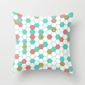 Mint Coral Gold Glitter Honeycomb Scatter Throw Pillow by Doucette Designs