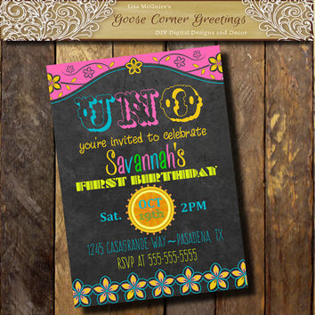 Baby Girl Mexican 1st Birthday Party Invitation Chalkboard Uno Papel Picado invitation TEX MEX Invitation Gender Neutral Pink Yellow