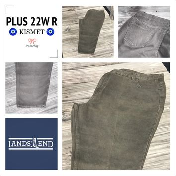 LAND END Women's Plus Size 22W Regular Olive Green Jeans