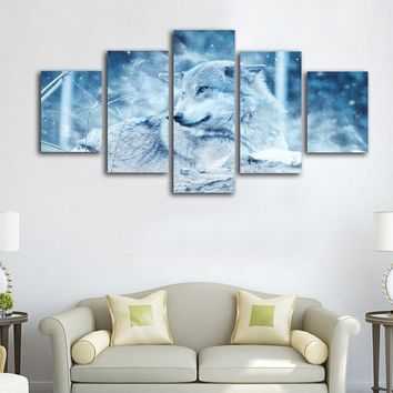 5 Panel Winter Wolf In Snow Winter Scene Wall Art Print Canvas Framed UNframed