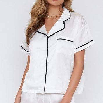 Amour Button Up Sleep Shirt Blanc