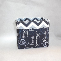 Lovely Black, White and Gray Family Themed Basket With Chevron Liner