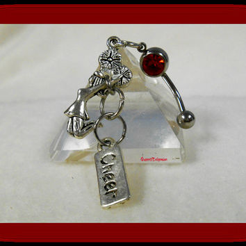 Cheerleader Belly Ring, Cheer Squad, Sports, Trendy Belly Rings, Athletic Jewelry, Fun, Athlete, Team Spirit, Ready to Ship, Direct Checkout
