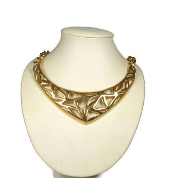 Dramatic Gold Plated Monet Bib Necklace Statement Jewelry