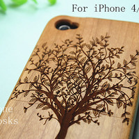 iphone 4 wood tree case , wood iphone 4s case , iphone 4s wooden case, iphone 4 case, Engraved Tree iPhone Case