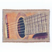 Chic Vintage Acoustic Guitar Watercolor Painting