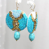 Turquoise drop Earrings - Sparkle Crystal Sequins - Abstract Embroidery