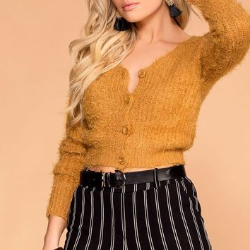 Heartbeat Mustard Fuzzy Button-Up Cardigan Top