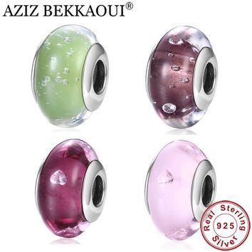 AZIZ BEKKAOUI 925 Sterling Silver Beads DIY Lovely European Clear CZ Glass Beads Charm Fit Pandora Bracelet for Jewelry Making