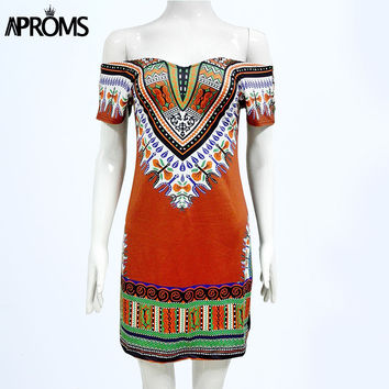 Aproms Style 2017 Boho Women's A-line Tunic Dress Casual V Neck African Dashiki Print Dresses Sexy Festival Sundresses Vestidos