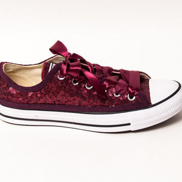 Tiny Sequin | Starlight Full Burgundy Canvas Low Top Sneakers Tennis Shoes with Ribbon Laces