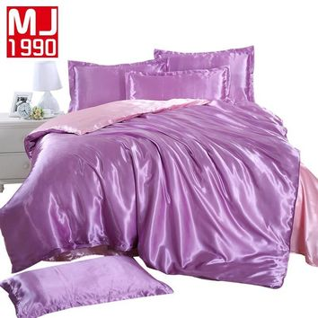 Cool 2018 Summer New Color Matching 100% Two-tone Satin Silk Bedding Set Sheet Down Quilt Cover Pillow Size Pull / King / QueenAT_93_12