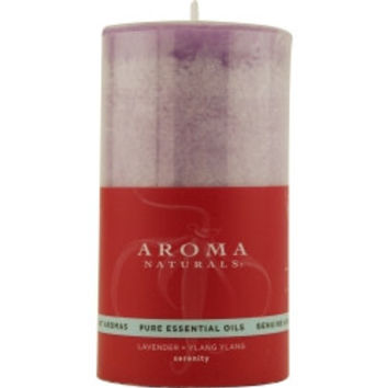 Serenity Aromatherapy SERENITY AROMATHERAPY ONE 2.75 X 5 inch PILLAR AROMATHERAPY CANDLE.  COMBINES THE ESSENTIAL OILS OF LAVENDER AND YLANG YLANG TO ENHANCE INNER BALANCE AND WELL-BEING.  BURNS APPROX. 70 HRS. UNISEX