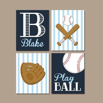 BASEBALL Wall Art,  Canvas or Prints, Baby Boy Nursery Decor, Big Boy Bedroom, Boy Name, Ball Glove Bat Play Ball, Set of 4 Baseball Theme