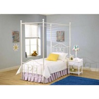 Twin size Metal Canopy Bed in Off White - Great for Kids