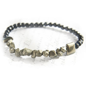 Pyrite Bracelet, Fools Gold Natural Gemstone Raw Pyrite Nuggets, Micro faceted Black Agate, Boho Bracelet