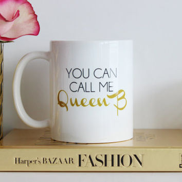 You Can Call Me Queen B / black and gold coffee mug - gossip girl quote - inspirational mug - ceramic - gift - chuck bass - Blair Waldorf