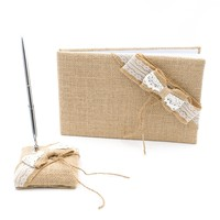 Wedding Guest Book and Pen Set (Burlap Bow, With Pen)