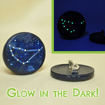 Capricorn Pinback Button GLOW in the DARK, Constellations, Zodiac, Horoscope, Astrology, Astronomy, Dec 22 - Jan 19, The Sea-Goat, The Stars