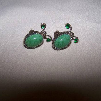 Simmons sterling screw back earrings vintage green rhinestone simmons sterling earrings