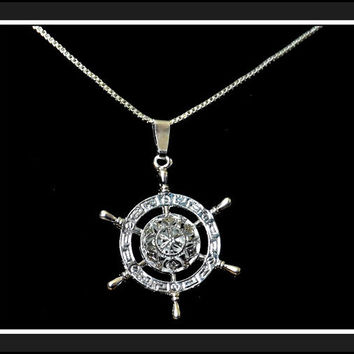 Ship Wheel Sterling Silver Pendant on 925 Sterling Silver Chain