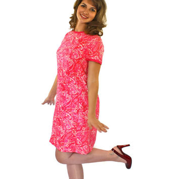 60s Pink Dress by I.Magnin. Paisley Mod Dress Shift Dress. Silk Dress. Mini Dress. Valentines Day Dress. Mad Men Fashion. Wedding.