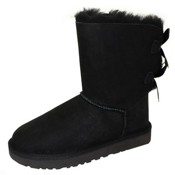 UGG BOOTS BAILEY BOW II WOMENS BLACK SHEEPSKIN BOOT