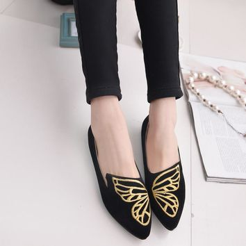 2016 NEW Fashion Suede butterfly embroidery shoes pointed toe lazy loafers woman comfortable flats k195