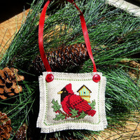 Red Cardinal cross stitched Christmas Ornament -Door Hanger - Handmade Ornie - Holiday decor