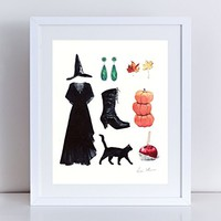 Halloween Witch Costume Collage Giclee Print of Watercolor Painting 8 x 10, 11 x 14 inches Fine Art Poster Black Cat Fall Leaves Hat Womens Ladies Stevie Nicks